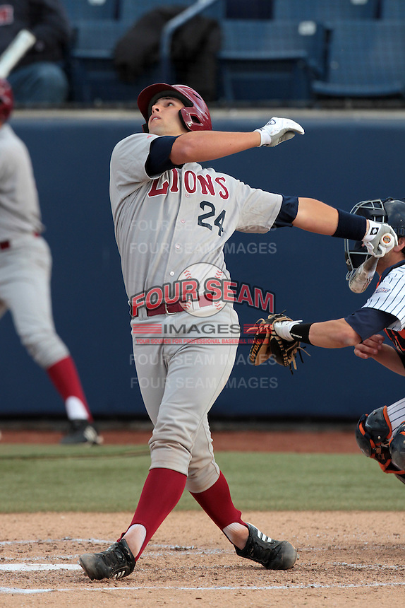 Colton Plaia #24 of the Loyola Marymount Lions bats against the Cal State Fullerton Titans at Goodwin Field on February 29, 2012 in Fullerton,California. Cal State Fullerton defeated LMU 6-2.(Larry Goren/Four Seam Images)
