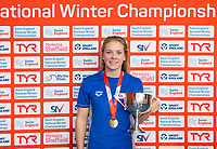 Picture by Allan McKenzie/SWpix.com - 14/12/2017 - Swimming -Swim England Winter Champs - Ponds Forge International Sports Centre - Sheffield, England - Anna Hopkin with gold in the womens open 50m freestyle.