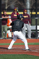 Mike Carter (5) of the Rutgers Scarlet Knights at bat against the Iona Gaels at City Park on March 8, 2017 in New Rochelle, New York.  The Scarlet Knights defeated the Gaels 12-3.  (Brian Westerholt/Four Seam Images)
