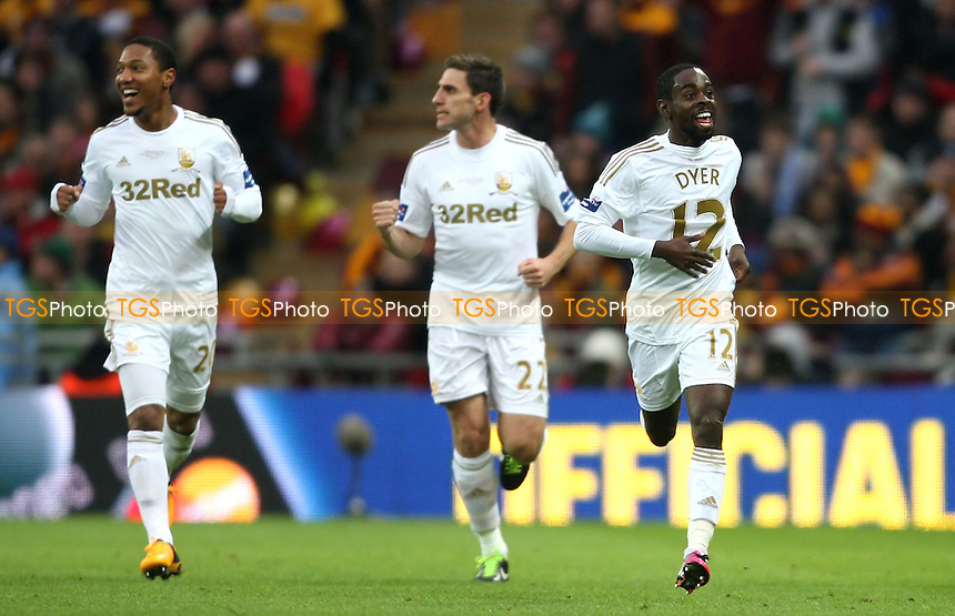 Nathan Dyer scores the 1st goal for Swansea and celebrates - Bradford City vs Swansea City, Capital One League Cup Final at Wembley Stadium, London - 24/02/13 - MANDATORY CREDIT: Rob Newell/TGSPHOTO - Self billing applies where appropriate - 0845 094 6026 - contact@tgsphoto.co.uk - NO UNPAID USE.