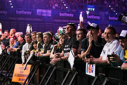 28.04.2016. Barclaycard Arena, Birmingham, England. Betway PDC Premier League Darts. Night 13. Fans watching the match.