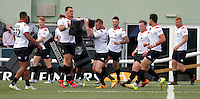London players warm-up prior to the Kingstone Press Championship game between London Broncos and Sheffield Eagles at Ealing Trailfinders, Ealing, on Sun July 9,2016