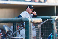 Peoria Javelinas manager Daren Brown (43), of the Seattle Mariners organization, in the dugout during an Arizona Fall League game against the Surprise Saguaros at Surprise Stadium on October 17, 2018 in Surprise, Arizona. (Zachary Lucy/Four Seam Images)