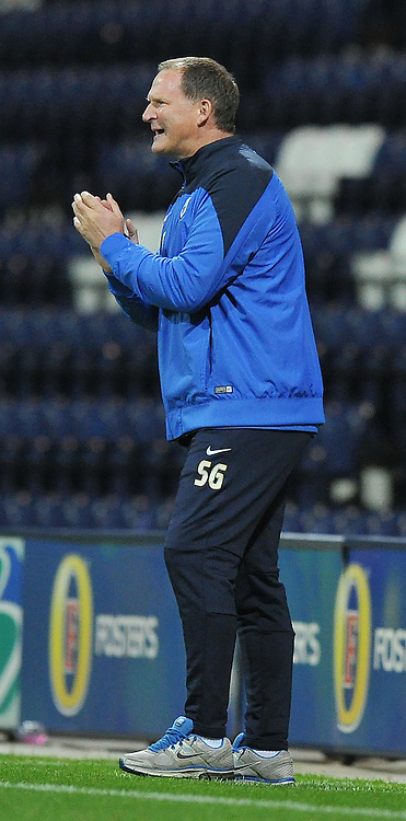 Preston North End's Manager Simon Grayson shouts instructions to his team<br /> <br /> Photographer Dave Howarth/CameraSport<br /> <br /> Football - Johnstone's Paint Trophy Northern Area Second Round - Preston North End v Port Vale - Tuesday 07th October 2014 - Deepdale - Preston<br />  <br /> &copy; CameraSport - 43 Linden Ave. Countesthorpe. Leicester. England. LE8 5PG - Tel: +44 (0) 116 277 4147 - admin@camerasport.com - www.camerasport.com
