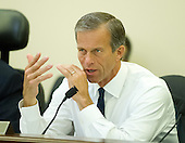 United States Senator John Thune (Republican of South Dakota), Ranking Member of the Senate Committee on Commerce, Science, and Transportation, questions a witness during the committee hearing on several nominations on Capitol Hill in Washington, D.C. on Wednesday, June 11, 2014. <br /> Credit: Ron Sachs / CNP