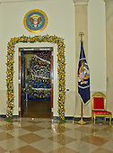 """Door in the Cross Hall looking into the Blue Room on the State Floor as part of the 2015 White House Christmas theme """"A Timeless Tradition"""" at the White House in Washington, DC on Wednesday, December 2, 2015. <br /> Credit: Ron Sachs / CNP"""