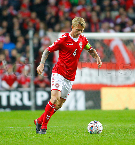 11th November 2017, Telia Parken, Copenhagen, Denmark; FIFA World Cup Qualification, European playoff, 1st leg; Denmark versus Republic of Ireland;  Simon Kjaer on the ball for Denmark