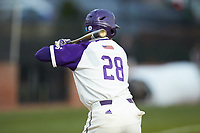 Sam Zayicek (28) of the High Point Panthers at bat against the Campbell Camels at Williard Stadium on March 16, 2019 in  Winston-Salem, North Carolina. The Camels defeated the Panthers 13-8. (Brian Westerholt/Four Seam Images)