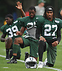 Darryl Roberts #27 stretches during New York Jets Training Camp at the Atlantic Health Jets Training Center in Florham Park, NJ on Monday, Aug. 14, 2017.
