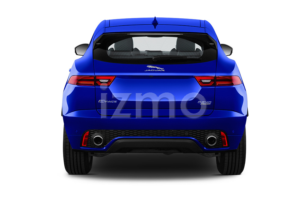 Straight rear view of a 2018 Jaguar E Pace R Dynamic 5 Door SUV stock images
