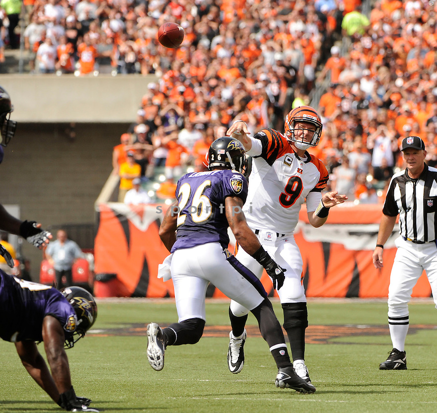 CARSON PALMER, of the Cincinnati Bengals  in action during the Bengals  game against the Baltimore Ravens on September 19, 2010 Paul Brown Stadium in Cincinnati, Ohio...The Bengals win 15-10
