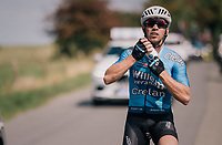 Sean de Bie (BEL/Verandas Willems-Crelan) stuffing himself with bidons for his teammates<br /> <br /> 98th Brussels Cycling Classic 2018<br /> One Day Race:  Brussels &gt; Brussels (201km)