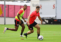 Sebastien Haller (Eintracht Frankfurt) mit Luka Jovic (Eintracht Frankfurt) - 28.08.2018: Eintracht Frankfurt Training, Commerzbank Arena, DISCLAIMER: DFL regulations prohibit any use of photographs as image sequences and/or quasi-video.