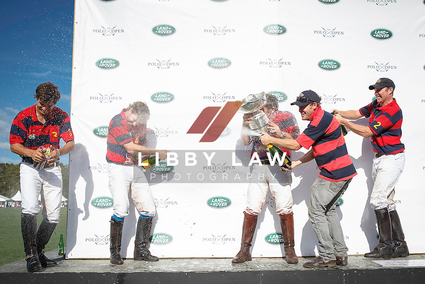2016 TITLE WINNERS: Edmundo Tigers: (L-R) Juan Baritos, James Beim, Pete Dormer, Olly Tuthill: 2016 Land Rover NZ Polo Open (Sunday 21 February) CREDIT: Libby Law / www.photosport.nz COPYRIGHT: LIBBY LAW PHOTOGRAPHY