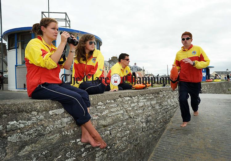 Katie Mc Enery, Melissa Power, David Mannion and Gary Ryan, lifeguards at Kilkee. Photograph by John Kelly.