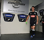 All Black Dan Carter takes to the field to warm up before the first international rugby test at Eden Park, Auckland, New Zealand, Saturday, June 02, 2007. The All Blacks beat France 42-11.