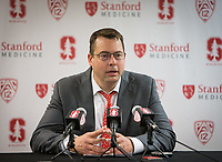 STANFORD, CA - January 26, 2019: Jerod Haase at Maples Pavilion. The Stanford Cardinal defeated the Colorado Buffaloes 75-62.