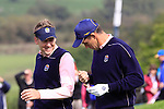 Ian Poulter notices chocolate on Padraig Harington on Thursday Practice day at the 2010 Ryder Cup, Celtic Manor, Newport, Wales, Thursday 30th September 2010..(Picture Manus O'Reilly/www.golffile.ie)