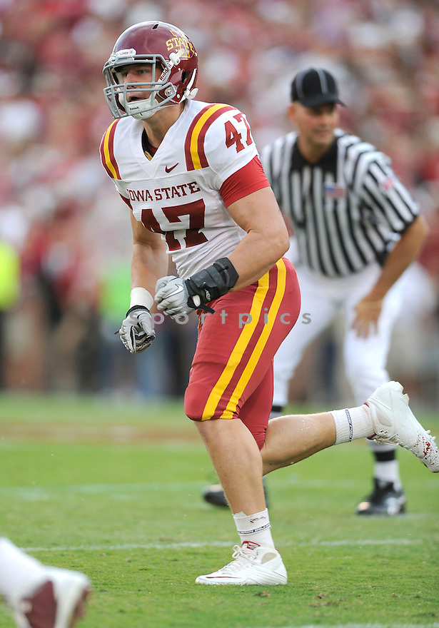 Iowa State Cyclones AJ Klein (47) in action during a game against Oklahoma on October 16, 2010 at Gaylord Family Oklahoma Memorial Stadium in Norman, OK. Oklahoma beat Iowa State 52-0.