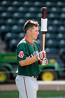 First baseman Nick Longhi (21) of the Greenville Drive during a preseason workout on  Wednesday, April 8, 2015, the day before Opening Day, at Fluor Field at the West End in Greenville, South Carolina. (Tom Priddy/Four Seam Images)