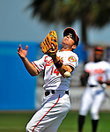 14 March 2009: Baltimore Orioles' infielder Chris Gomez loses a pop foul in the sun during a Spring Training game against the Boston Red Sox at Fort Lauderdale Stadium in Fort Lauderdale, Florida. The Orioles defeated the Red Sox 9-8 in the Grapefruit League matchup. Mandatory Photo Credit: Ed Wolfstein Photo