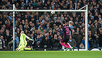 Andre Gomes of Barcelona  shot rattles the crossbar during the UEFA Champions League match between Manchester City and Barcelona at the Etihad Stadium, Manchester, England on 1 November 2016. Photo by Andy Rowland / PRiME Media Images.