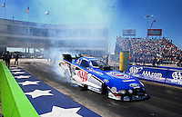 Sept. 21, 2013; Ennis, TX, USA: NHRA funny car driver Robert Hight during qualifying for the Fall Nationals at the Texas Motorplex. Mandatory Credit: Mark J. Rebilas-