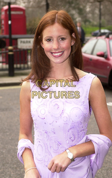 AMY NUTTALL.lilac dress, wrap, shawl .Ref: HT.www.capitalpictures.com.sales@capitalpictures.com.© Capital Pictures