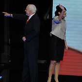 St. Paul, MN - September 3, 2008 -- Governor Sarah Palin of Alaska, right, and United States Senator John McCain (Republican of Arizona), left, after Palin accepted the Republican nomination as Vice President of the United States on day 3 of the 2008 Republican National Convention at the Xcel Energy Center in Saint Paul, Minnesota on Wednesday, September 3, 2008.Credit: Ron Sachs / CNP.(RESTRICTION: NO New York or New Jersey Newspapers or newspapers within a 75 mile radius of New York City)