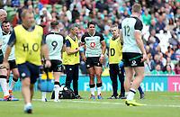 090819 | Ireland vs Italy<br /> <br /> Joey Carbery is injured during Ireland's RWC warm up game against Italy at the Aviva Stadium, Lansdowne Road, Dublin, Ireland. Photo by John Dickson - DICKSONDIGITAL
