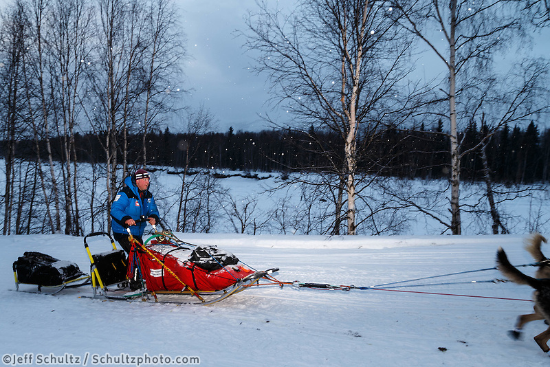 Dag Torulf Olsen leaves the Takotna Checkpoint on Thursday March 10 during Iditarod 2016.  Alaska.    <br /> <br /> Photo by Jeff Schultz (C) 2016  ALL RIGHTS RESERVED