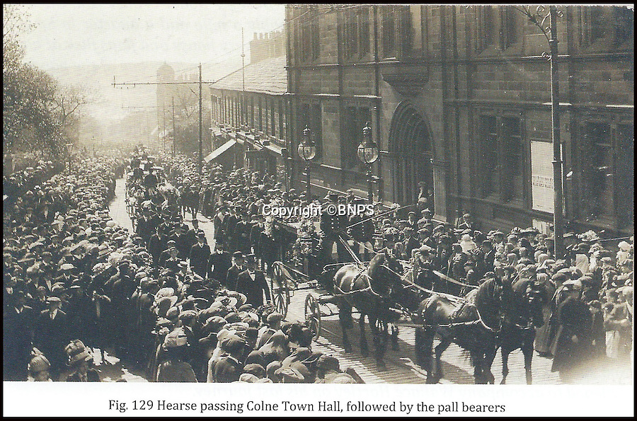"""BNPS.co.uk (01202 558833)<br /> Pic: Phil Yeomans/BNPS<br /> <br /> Packed crowds for Hartley's funeral in Colne, Lancashire.<br /> <br /> And the band played on...<br /> <br /> Poignant reminder - Last letter from his parents found on the heroic violinist Wallace Hartleys body after the sinking of the Titanic is uncovered.<br /> <br /> The letter by Albion and Eilzabeth Hartley to their son Wallace Hartley was written the day before the 'unsinkable' liner left on its doomed maiden voyage in 1912.<br /> <br /> His father movingly signed off the letter with the words: """"I hope that things will turn out for you alright."""""""