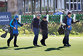 2nd October 2017, The Old Course, St Andrews, Scotland; Alfred Dunhill Links Championship golf practice round; Huey Lewis, lead singer of Huey Lewis and the news and Tico Torres, drummer with rock band Bon Jovi, chat as they walk down the first fairway on the Old Course, St Andrews, during a practice round before the Alfred Dunhill Links Championship