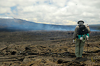 helicopter and hiker, Kahaualea Natural Area Reserve, July 21st eruption near Puu Oo vent on July 23rd 2007, viewed from the west slope of Kupaianaha, Kilauea volcano, east of Hawaii, USA Volcanoes National Park, Big Island of Hawaii, USA