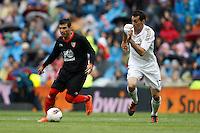 29.04.2012 SPAIN -  La Liga matchday 36th  match played between Real Madrid CF vs Sevilla Futbol Club (3-0) at Santiago Bernabeu stadium. The picture show Jose Antonio Reyes (Spanish midfielder of Sevilla C.F.) and  Alvaro Arbeloa Coca (Spanish defender of Real Madrid)