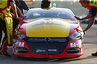 Feb 13, 2016; Pomona, CA, USA; Detailed view of the front end and hood on the car of NHRA pro stock driver Jeg Coughlin Jr during qualifying for the Winternationals at Auto Club Raceway at Pomona. Mandatory Credit: Mark J. Rebilas-USA TODAY Sports