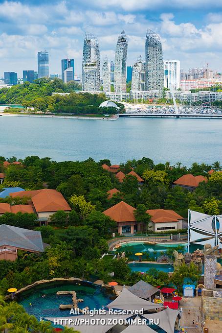 Singapore Skyscrapers From Sentosa Island