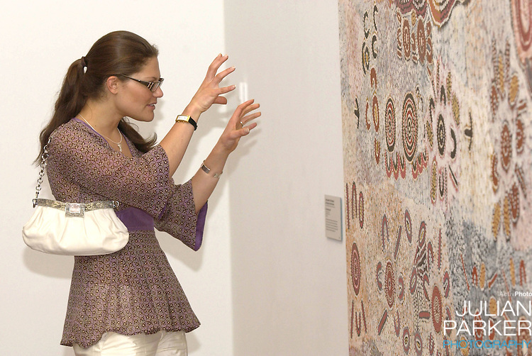 Crown Princess Victoria of Sweden visits an exhibition of Indigenous Art at The Ian Potter Centre, in Federation Square, Melbourne, during her visit to promote 'Swedish Style In Australia'..