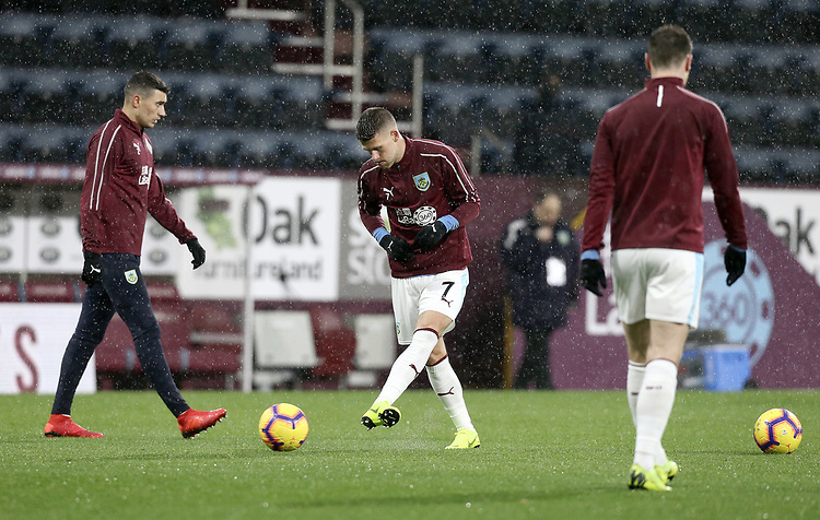 Burnley's Johann Gudmundsson during the pre-match warm-up <br /> <br /> Photographer Rich Linley/CameraSport<br /> <br /> The Premier League - Burnley v Brighton and Hove Albion - Saturday 8th December 2018 - Turf Moor - Burnley<br /> <br /> World Copyright © 2018 CameraSport. All rights reserved. 43 Linden Ave. Countesthorpe. Leicester. England. LE8 5PG - Tel: +44 (0) 116 277 4147 - admin@camerasport.com - www.camerasport.com