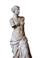 Venus de Milo ( Aphrodite of Milos ) A 203&nbsp;cm (6&nbsp;ft 8&nbsp;in)  marble statue from the Greek Island of Milos sculpted in 130 and 100 BC thought to be the work of Alexandros of Antioch;. Louvre Museum, Paris. <br /> The Aphrodite of Milos was discovered on 8 April 1820 by a peasant named Yorgos Kentrotas, inside a buried niche within the ancient city ruins of Milos, the current village of Tripiti, on the island of Milos  in the Aegean, which was then a part of the Ottoman Empire. The statue was purchase by the French ambassador to Turkey and it was shipped to France. Legend has it that the statues arms were broken off during transport but this story however proved to be a fabrication &ndash; Voutier's drawings of the statue when it was first discovered show that its arms were already missing.<br /> <br /> In 1815, France had returned the Medici Venus,  to the Italians after it had been looted from Italy by Napoleon Bonaparte. The Medici Venus, regarded as one of the finest Classical sculptures in existence, caused the French to promote the Venus de Milo as a greater treasure than that which they recently had lost. The de Milo statue was praised dutifully by many artists and critics as the epitome of graceful female beauty. However, Pierre-Auguste Renoir was among its detractors, labeling it a &quot;big gendarme&quot;.