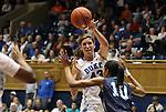 20 December 2011: Duke's Allison Vernerey (FRA) (43) and UNCW's Abria Trice (10). The Duke University Blue Devils defeated the University of North Carolina Wilmington Seahawks 107-45 at Cameron Indoor Stadium in Durham, North Carolina in an NCAA Division I Women's basketball game.