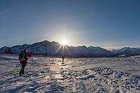 Cross country skiing in the Alaska Range mountains.