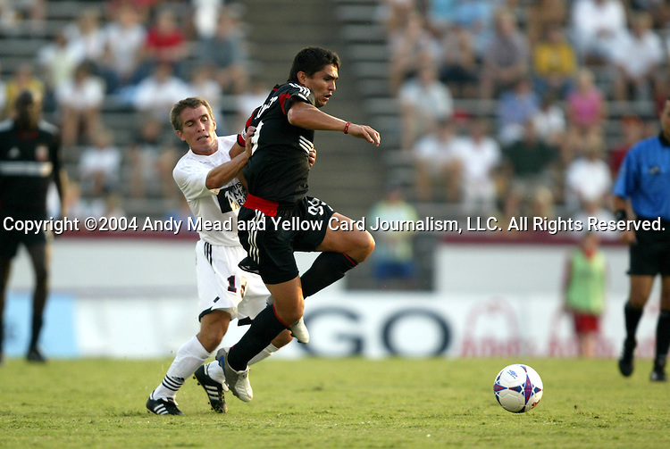 21 July 2004: Richie Williams (left) and Jaime Moreno (right). The Richmond Kickers of the A-League defeated DC United of Major League Soccer 2-1 at University of Richmond Stadium in Richmond, VA in a fourth round game in the 2004 Lamar Hunt U.S. Open Cup..