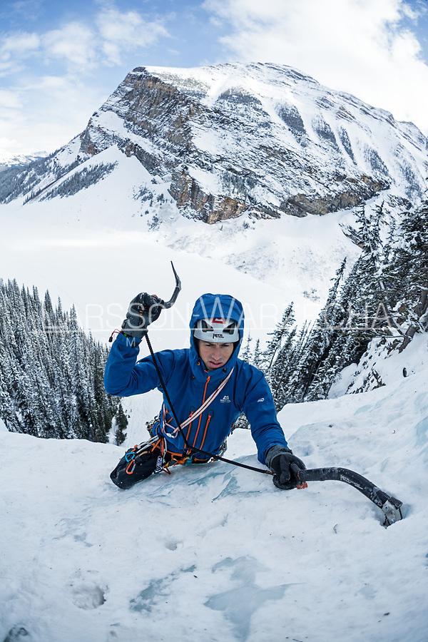 Andy Turner ice climbing Louise Falls, Lake Louise, Alberta, Canada