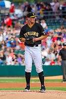 Indianapolis Indians pitcher Mitch Keller (49) on the mound during an International League game against the Buffalo Bisons on July 28, 2018 at Victory Field in Indianapolis, Indiana. Indianapolis defeated Buffalo 6-4. (Brad Krause/Four Seam Images)