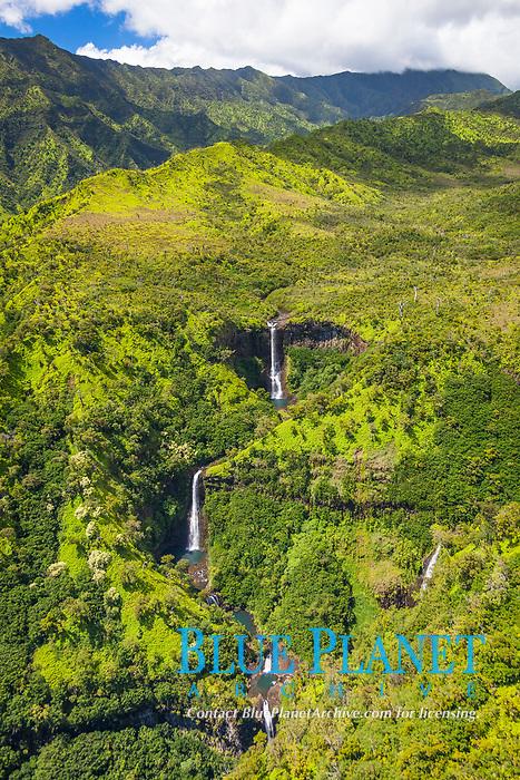 "Kahili Falls - the ""Five Sisters"", multi-tier waterfalls, Hanapepe Valley, Kauai, Hawaii, USA"