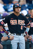 Oregon State outfielder Michael Conforto (8) before Game 9 of the 2013 Men's College World Series  against the Indiana Hoosiers on June 19, 2013 at TD Ameritrade Park in Omaha, Nebraska. The Beavers defeated the Hoosiers 1-0, eliminating Indiana from the tournament. (Andrew Woolley/Four Seam Images)