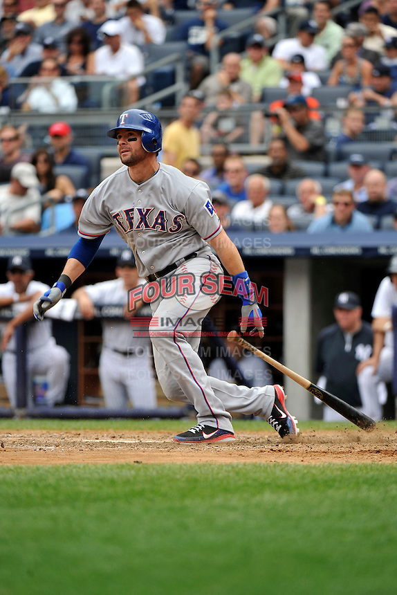 Texas Rangers infielder Michael Young #10 during a game against the New York Yankees at Yankee Stadium on June 16, 2011 in Bronx, NY.  Yankees defeated Rangers 3-2.  Tomasso DeRosa/Four Seam Images