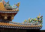 Temple Roof Detail Right Side, Kanteibyo Temple, Guan di Miao, Chinatown, Yokohama, Japan