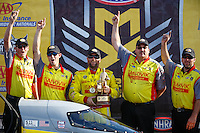 Sep 25, 2016; Madison, IL, USA; NHRA top fuel driver Shawn Langdon celebrates with crew after winning the Midwest Nationals at Gateway Motorsports Park. Mandatory Credit: Mark J. Rebilas-USA TODAY Sports